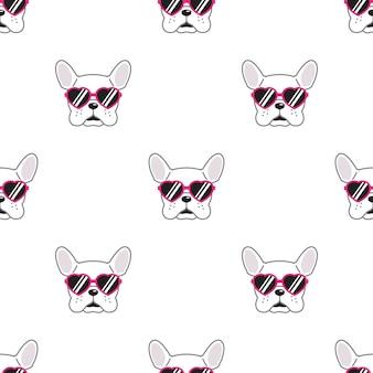 Perro de patrones sin fisuras bulldog francés corazón gafas de sol