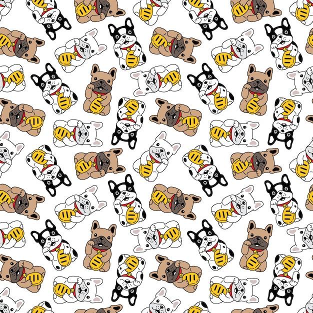 Perro de patrones sin fisuras bulldog francés gato de la suerte maneki neko ilustración dibujos animados