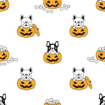 Perro de patrones sin fisuras bulldog francés ilustración de dibujos animados de calabaza de halloween
