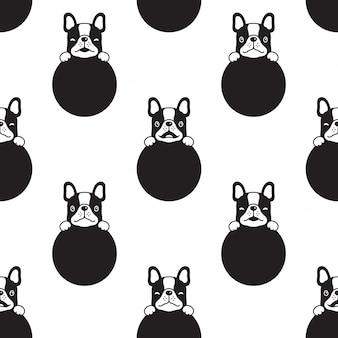 Perro de patrones sin fisuras bulldog francés lunares cachorro pata dibujos animados