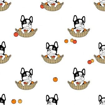 Perro de patrones sin fisuras bulldog francés naranja cesta de frutas cartoon