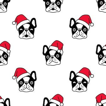 Perro de patrones sin fisuras bulldog francés navidad santa claus cabeza