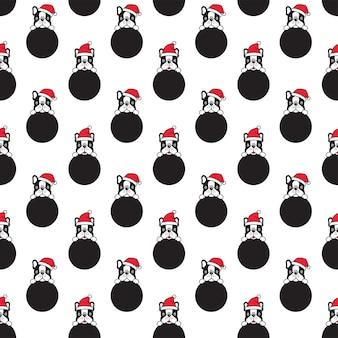 Perro de patrones sin fisuras bulldog francés navidad santa claus lunares dibujos animados