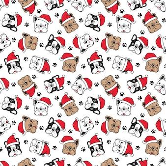Perro de patrones sin fisuras bulldog francés navidad santa claus pata ilustración de dibujos animados