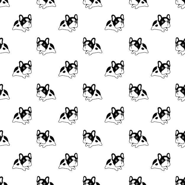 Perro de patrones sin fisuras bulldog francés saltando dibujos animados