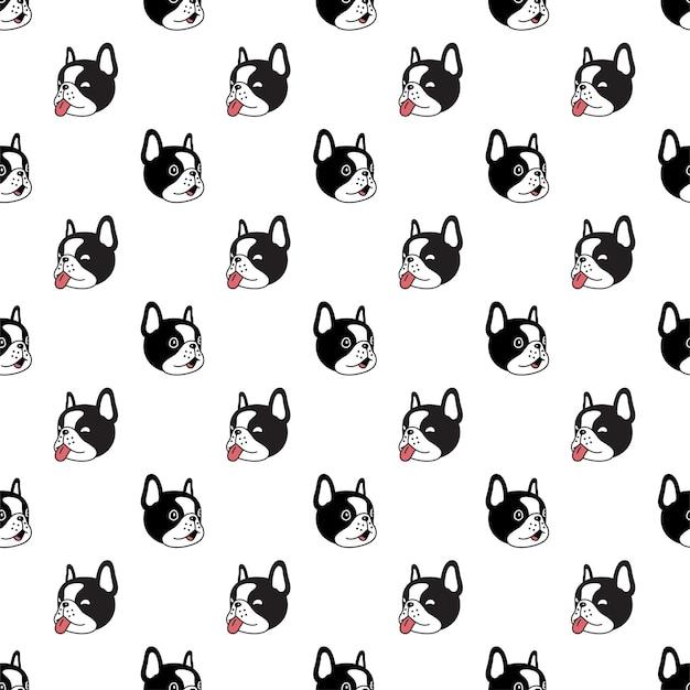 Perro de patrones sin fisuras bulldog francés sonrisa cabeza cara personaje de dibujos animados mascota cachorro doodle