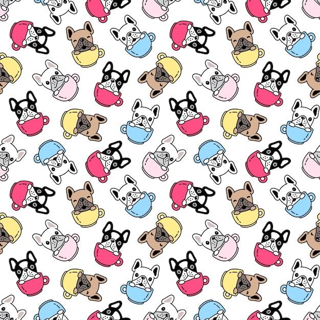 Perro de patrones sin fisuras bulldog francés taza de café ilustración de dibujos animados