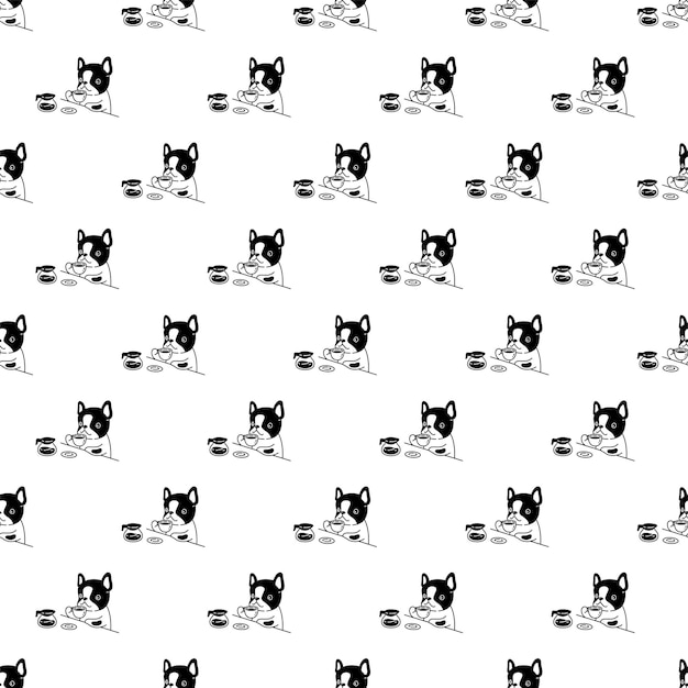 Perro de patrones sin fisuras bulldog francés taza de café té de dibujos animados