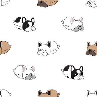 Perro de patrones sin fisuras franch bulldog durmiendo cartoon