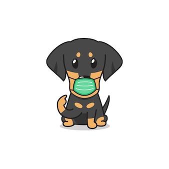 Perro de perro salchicha de personaje de dibujos animados con máscara protectora con bocadillo