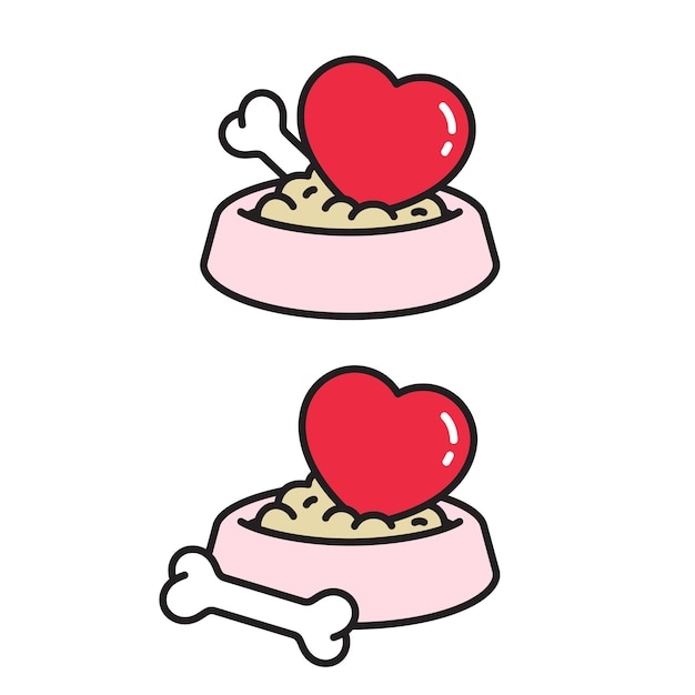 Perro personaje de dibujos animados hueso comida tazón corazón