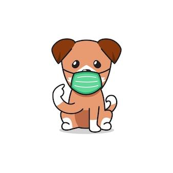 Perro de personaje de dibujos animados con máscara protectora