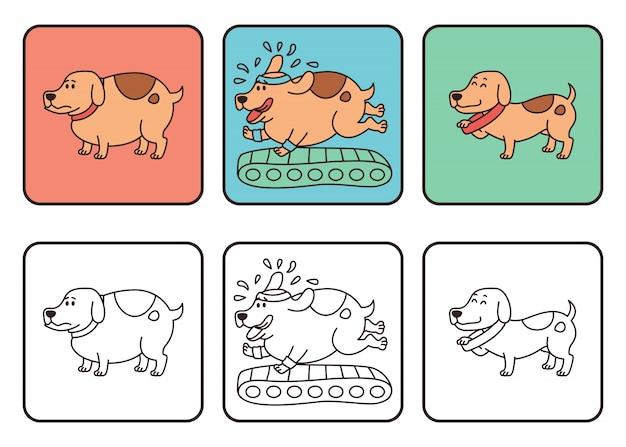 Perro con peso normal y sobrepeso, dibujo de obesidad en mascotas.