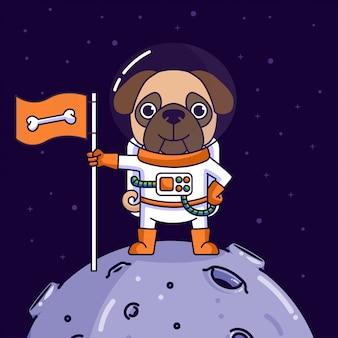 Perro pug aterrizando en la luna