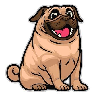 Perro pug de dibujos animados lindo feliz