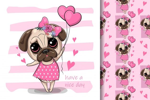 Perro pug de dibujos animados lindo con globos de corazón