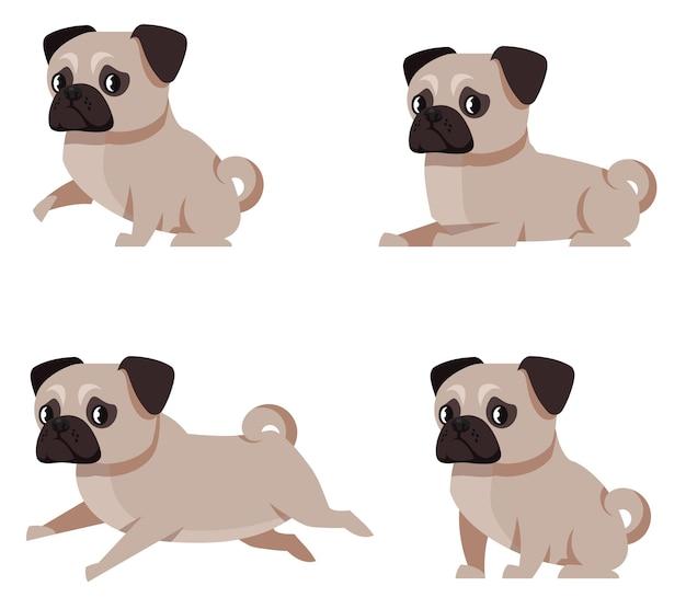 Perro pug en diferentes poses. linda mascota en estilo de dibujos animados.