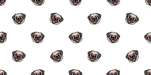 Perro pug lindo con gafas de sol de dibujos animados de patrones sin fisuras, ilustración vectorial