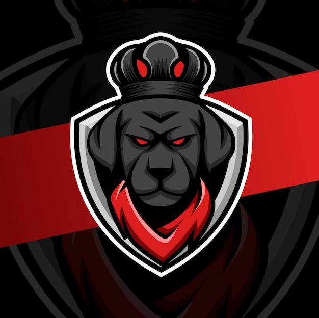 Perro rey con diseño de logotipo de esport de mascota de corona