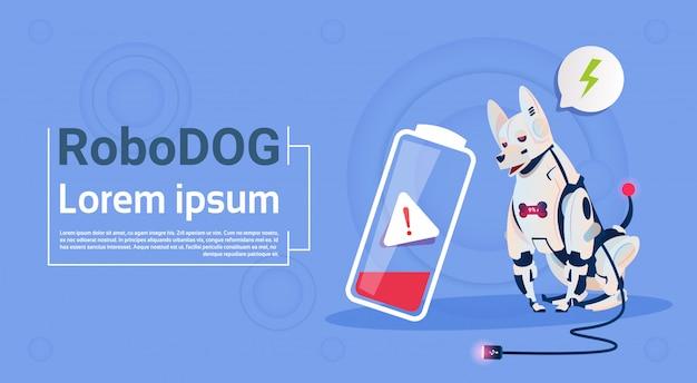 Perro robótico con carga baja de batería animal doméstico robot moderno tecnología de inteligencia artificial para mascotas