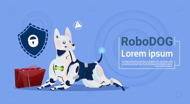 Perro robótico protección de datos sistema de seguridad de la base de datos de animales domésticos lindos robot moderno mascota inteligencia artificial concepto