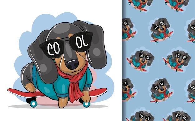 Perro salchicha de dibujos animados lindo con patineta y conjunto de patrones