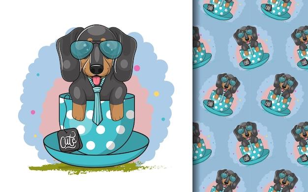 Perro salchicha de dibujos animados lindo con taza de té y conjunto de patrones