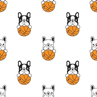 Perro, seamless, patrón, bulldog francés, básquetbol
