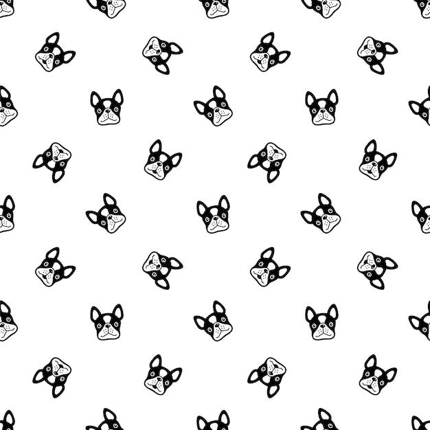 Perro, seamless, patrón, bulldog francés, cara, caricatura