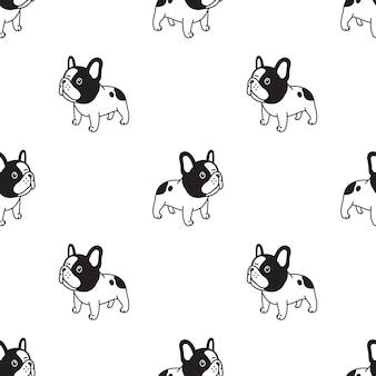 Perro, seamless, patrón, bulldog francés, caricatura