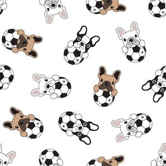 Perro, seamless, patrón, bulldog francés, fútbol, fútbol