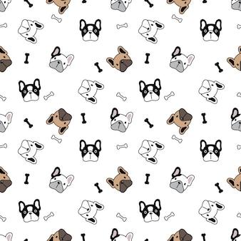 Perro, seamless, patrón, bulldog francés, hueso