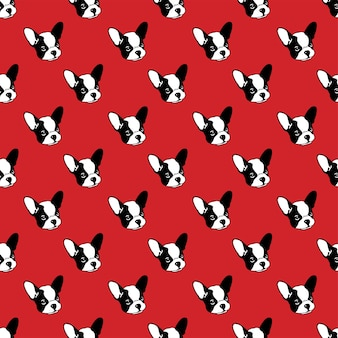 Perro, seamless, patrón, bulldog francés, ilustración, caricatura