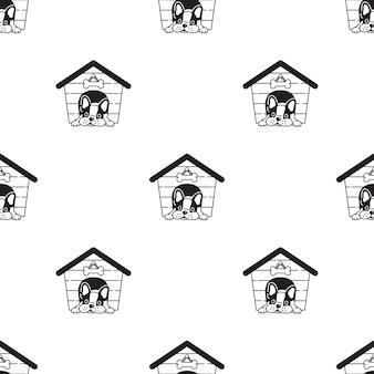 Perro, seamless, patrón, francés, bulldog, casa