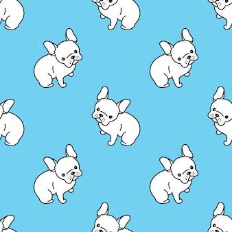 Perro, seamless, patrón, francés, bulldog, ilustración