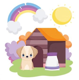 Perro sentado en casa con paquete de alimentos mascotas