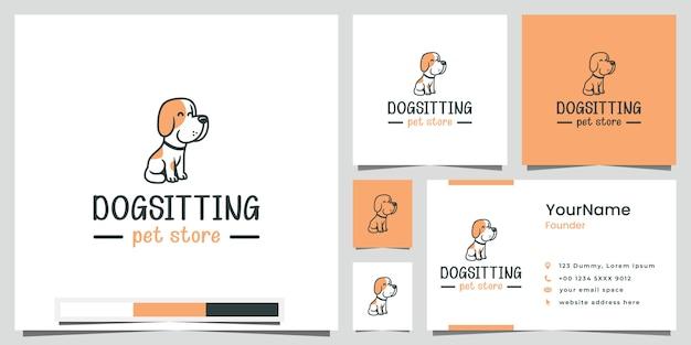 Perro sentado tienda de mascotas logo diseño inspiración