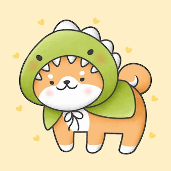 Perro shiba inu en traje de dinosaurio estilo dibujado a mano de dibujos animados