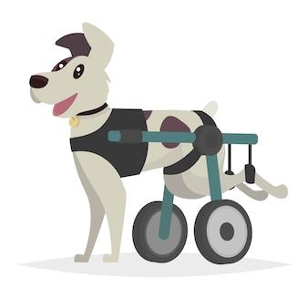 Perro en silla de ruedas para las patas traseras. ilustración en un estilo plano