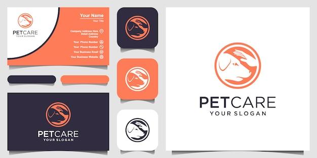 Perro de la tienda de cuidado de mascotas con plantilla de icono de logotipo de mano. y diseño de tarjetas de visita