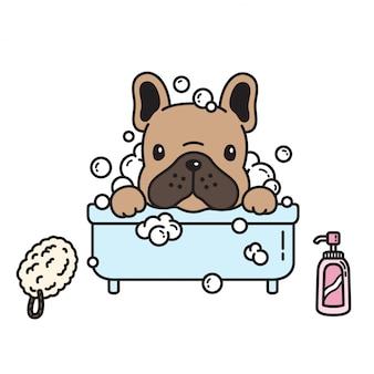 Perro vector bulldog francés baño ducha dibujos animados