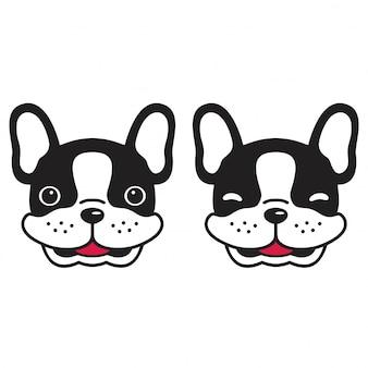 Perro vector bulldog francés cabeza cachorro sonrisa dibujos animados