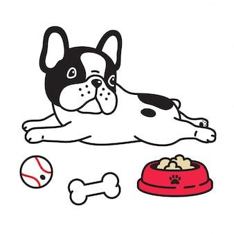 Perro vector bulldog francés cachorro comida tazón bola hueso dibujos animados