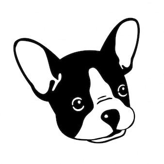 Perro vector bulldog francés cara cabeza dibujos animados