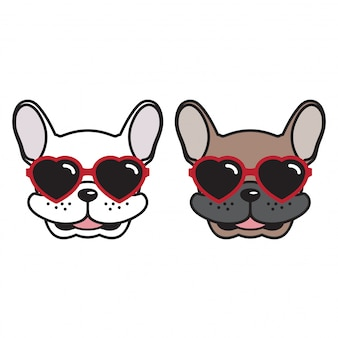 Perro vector bulldog francés corazón gafas de sol cachorro de dibujos animados