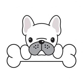 Perro vector bulldog francés hueso dibujos animados