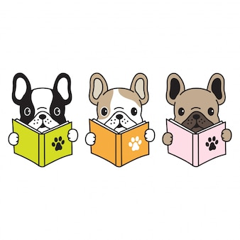 Perro vector bulldog francés lectura libro de dibujos animados