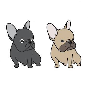 Perro vector bulldog francés mascota cachorro de dibujos animados