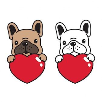 Perro vector bulldog francés san valentín corazón icono abrazo dibujos animados