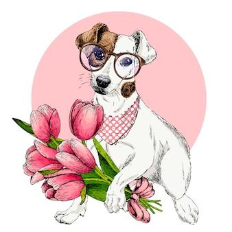 Perro de vector tarjeta de felicitación de pascua